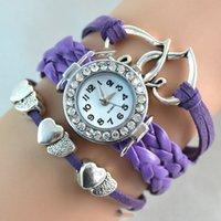 2016 pulseras Infinity reloj de la manera de los brazaletes de cuero Relojes Corazón a Corazón de cuarzo reloj de pulsera de la gota de la caja Relojes Ronda de señoras de las mujeres