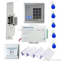 Wholesale RFID Access Control System Kit Set Strike Door Lock ID Card Keytab Power Exit Button A5