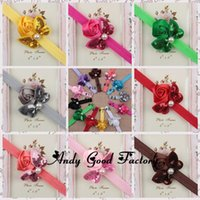 Wholesale 60PCS quot Mini Sequin Bows Infant Headbands Sparkle Sequin Bows Girls Hairband Satin Ribbon Rose Flowers Baby Bow Hair Band HB061