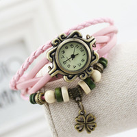 Wholesale 2015 hot Retro Quartz Watch Fashion Weave Wrap Around Leather Bracelet Bangle Womens Clover Girl Watch in stock hot