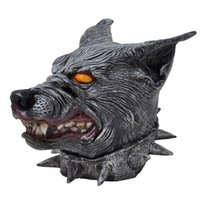 pit bull - Creepy Halloween Christmas Party Head Masks Prop Gray Wolf Pit Bull Terrier Dog with Scary Blood Teeth Material Latex Best Gifts