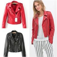 Precio de Leather jackets-CT992 nueva moda damas moto PU cuero chaqueta abrigo estilo vintage caliente rojo negro outwear tapas de cremallera marca slim casual