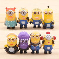 Wholesale 8 Set Hot Sales cm D Eye Despicable Me Minions Purple Figure Set PVC doll Toys Christmas Gift for Kids with Retail Box