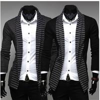 Cheap Mens Casual Stylish korean coats Men Jackets Coat Men's fashion casual long-sleeved striped color knit cardigan jacket