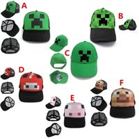 lorries - Minecraft JJ Monster Creeper Toy Hat baseball hat Creeper Caps Cartoon Trucker Caps Lorry Caps Kids Adjustable Hats styles A
