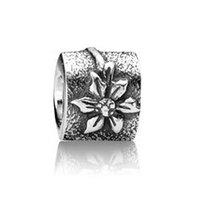 Wholesale Flower Charms Silver Beads Poinsettia Flower Charm fit Pandora style braceelts No Lw385