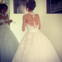 Wholesale Stunning Lace Appliqued Wedding Dresses Ball Gown Sheer Jewel Neckline Illusion Beading Back Long Sleeves Sweep Train Tulle Bridal Gown