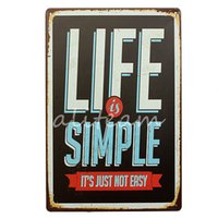beautiful plaques - Beautiful design Life is Simple Metal Home Shop Pub Wall Garage Vintage Sign Tin Plaque Decoration x300mm Metal Painting