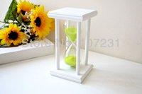 Wholesale X inch White wooden Green sand sandglass Hourglass Timer min decor xmas gift