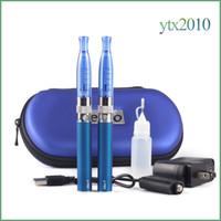 Wholesale Electronic Cigarette H2 EGo T Double Zipper Case Kit ml Atomizer ohm Vaporizer Ecig EGo T Battery Zipper Kit