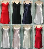 nighties - Ladies Satin Lace Strappy Nightdress Nightie Nightgown Chemise Plus Size S XL