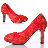 Wholesale Platform Pumps with Chunky Heels Thick Soles Red Wedding Shoes with Embroidery Chinese Women s Shoes with Ruyi Knot Almond Toe Bridal Shoes