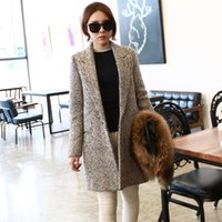 Wholesale Women s trench coat fashion spring and winter long wool blends coats casacos femininos vintage striped clothes for womens
