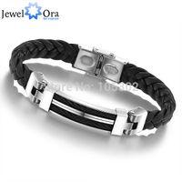 Wholesale Wide Weave Chain Bracelet Men Jewelry cm Stainless Steel Men Leather Bracelet JewelOra BA100617