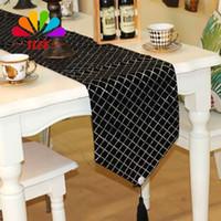 cotton table runner - TLFE Diamond Sequin Crochet Black Table Runners For Wedding Party Decoration Table Cover Home Garden caminho de mesa ZQ036