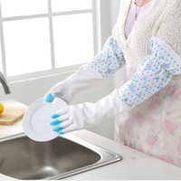 Household Gloves - Thick Rubber Long Gloves Household Kitchen With Velvet Dish Wash Cleaning Gloves New