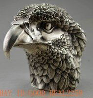 big head statues - Collectible Decorated Old Handwork Tibet Silver Carve Big Eagle Head Statue
