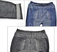 Wholesale Women s Jeggings Sexy Spandex Stretch Denim Skinny Tight Jeans Style Leggings Black Blue