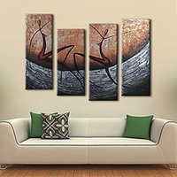 bedroom decoration pictures - 4Pcs Hand painted Oil Painting Set Modern Abstract Picture Decorative Art for Home Living Room Bedroom Office Hotel Decoration H16130