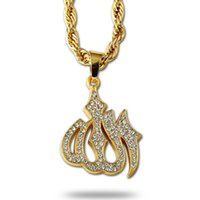 muslim jewelry - 2016 Fashion Allah Pendant Necklace Muslim K Gold Plated Iced Out Pendant Necklaces Trendy Link Chain Crystal Jewelry For Religious Women