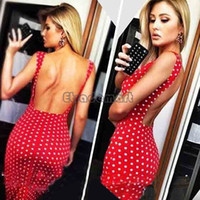 Wholesale 2015 Summer Women Dress Sexy Polka Dot Sleeveless Halter Club Wear Elegant Bandage Party Dresses Red Color Backless