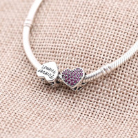 beads cz - 925 Silver Beads Fit Pandora Charms Sale Heart Beads CZ Stones for Pandora Charms Silver Original Jewelry Hand MakingPX0063