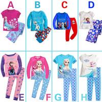 2014 Outono congelado Elsa Anna meninas de manga comprida Knitting algodão top + velo calças pijama pijama sets roxo sleepwear Pjs congelado 6 jogos / lote