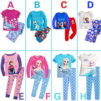 pajama - 2014 Autumn Frozen Elsa Anna girls long sleeve Knitting cotton top Fleece pants pyjamas pajama purple sets sleepwear Pjs frozen sets