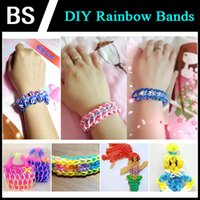 Wholesale DHL fast Rainbow rubber bands DIY Woven Rainbow bracelet with retail package Rubber band small crochet hook S buckle