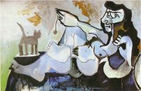 art cat gallery - online art gallery Pablo Picasso oil paintings reproduction with high quality Lying female playing with cat Hand painted