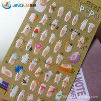 Wholesale DIY Sticker South Korea Sent Straight Funny Cute Naughty Rabbit Epoxy Dimensional Bubble Album Photo Posted