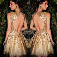 Cheap Wow Gold Backless Prom Dresses 2016 High Neck Illusion Bodice Appliques Short Modest galajurken ballkleider Evening Party Dress For Woman