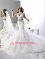 two piece wedding dress - Jajja Arabic Mermaid Wedding Dresses Vestidos Two Pieces Cap Sleeves Beading Appliques Crystal Chapel Train Bridal Gowns BO7088