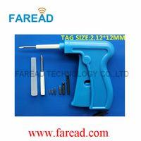 Transpondedor RFID aguja 2.12x12mm ISO11784 / 785 FDX-B aguja de la jeringa animales microchip, aplicador desechable ICAR reutilizable