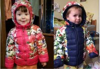 Wholesale Winter Children Girl boy floral Coat Girls Cotton Padded Clothes Floral Down Coats Kids Jackets kids warm hooded clothing coat