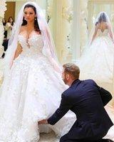 Wholesale Gorgeous White Bridal Dress Wedding Sexy Sweatheart Neck Handmade Flower Applique A line Wedding Dress Bridal Gowns Sweep Train
