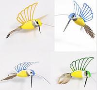 Wholesale 1 piece new Creative Solar Hummingbird Flying Fluttering Birds Resin Home and garden Decoration