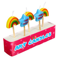 Wholesale 5Pcs Birthday Cake Multicolor Woodstick Rainbow Star Shape Safe Candles Fames Party Dessert Decoration Gifts