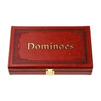 domino game set - High quality board games luxury PU leather double melamine domino set