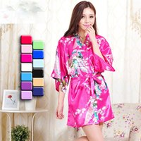 Wholesale Womens Solid royan silk Robes Ladies Satin Pajama Lingerie Sleepwear Kimono Bath Gown pjs Nightgown