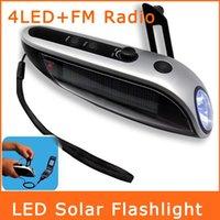 solar flashlight radio phone charger - Hand Winding Crank Dynamo LED Lighting Solar Flashlight Mobile Power Mobile Phone Charger Flashlight FM Radio SDT0008