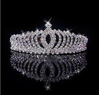 Cheap High Quality Shining Beaded Crystals Wedding Crowns Bridal Veil Tiara Crown Headband Hair Accessories Party Wedding Tiara
