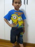 Wholesale 2014 Cartoon Despicable Me Minions Summer Short Sleeve T Shirt Jean pants Children Kids Clothing Set Sports suit