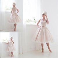 tea length wedding dress - Fitted A Line Tea Length Blush Little Wedding Dresses Lace Appliques Bateau Neckline Sleeveless See Through Short Bridal Gowns