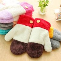 Wholesale Rainbow wool gloves Lovely ms candy color warm thickening plush gloves