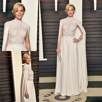 banks picture - Charming Oscars Prom Dresses High Neck Lace Applique Beads Evening Dress Sweep Train Spring Elizabeth Banks A Line Formal Party Gowns