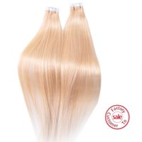 Wholesale EVET Peruvian Tape Hair PU Skin Weft Hair Extension Double Drawn gram per set g piece Lightest Blonde Peruvian Virgin Hair