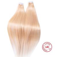 tape hair extensions - EVET Peruvian Tape Hair PU Skin Weft Hair Extension Double Drawn gram per set g piece Lightest Blonde Peruvian Virgin Hair