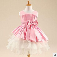 baby classes - 2015 New Fashion Girls Party Dresses Childrens High Class Sleeveless Ball Gown Dresses Girls Sweet Bow Dresses Baby Full Dresses