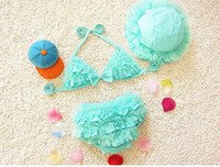 Two-piece Girl Children's Day Top Quality 2016 Children's1-8Year Bikini Kids Girls Cute Swimwear Baby Infant Ruffle Bow Princess Two Pieces Swimsuit 4color